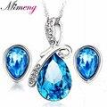 100% Prata Conjuntos de Jóias 925 AAA para Mulheres Conjunto de Jóias De Cristal Da Gota Da Água Azul Marinho Sólido Prata Frete Grátis SS015