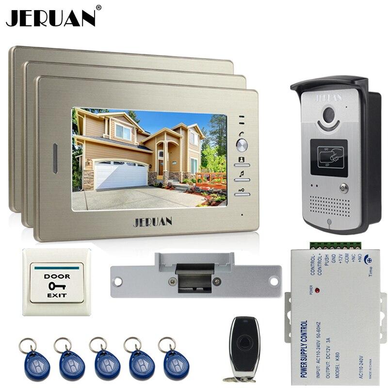 JERUAN 7`` LCD Video Intercom Video Door Phone Handsfree+access control system+three monitors+700TVL Camera+Cathode lock