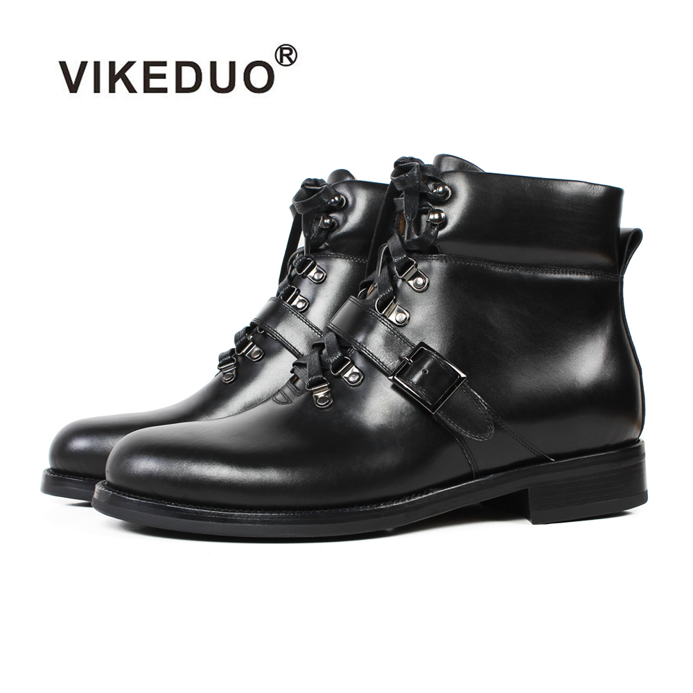 VIKEDUO Winter New Men's Ankle Boots 2019 Patina Bespoke Handmade Botas Hombre Plus Size Genuine Leather Lace-up Motorcycle Boot