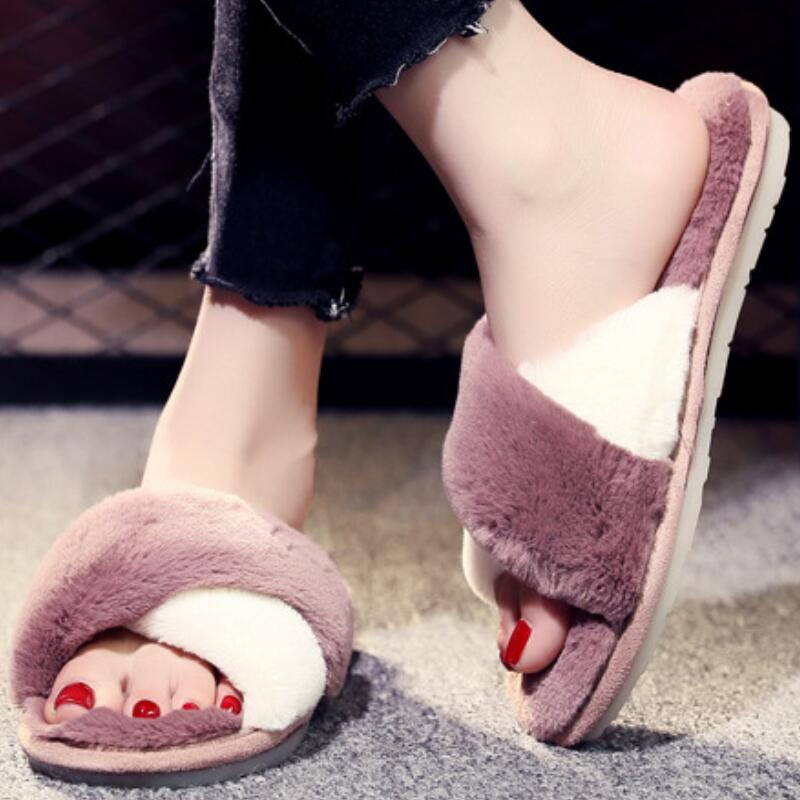 bc43d3095cfb Women Slippers Winter Fuzzy Slides Flat Mules Shoes Funny Indoor House  Shoes Fur Warm Soft Fluffy Slippers Pantoffels Dames-in Slippers from Shoes  on ...