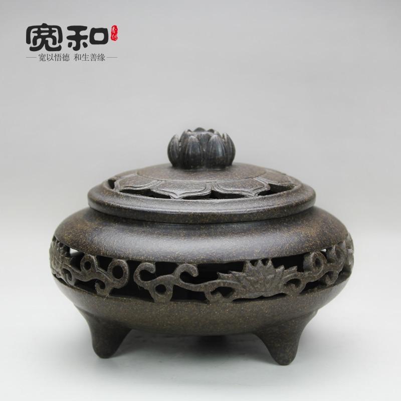 Zisha Yixing grés cerâmica bobina incenso queimador de incenso forno forno forno incenso de sândalo fragrância de Lótus oco