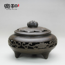 Incense burner zisha Yixing stoneware ceramic incense coil furnace hollow Lotus sandalwood incense fragrance furnace furnace lotus upscale boutique red sandalwood ebony sandalwood incense burner hob buddhism adder