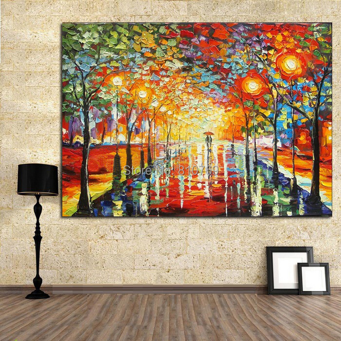 NEW Pure Manual Painting Knife Home Decoration Oil On Street Scenery Handpainted WX15041105