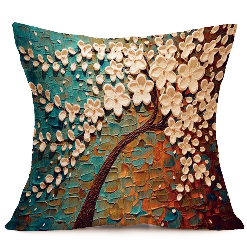 Nordic Стиль 3D Дерево с принтом Пледы Наволочки белье хлопок Чехлы для подушек Творческий Украшение для диван Чехлы для автомобиля