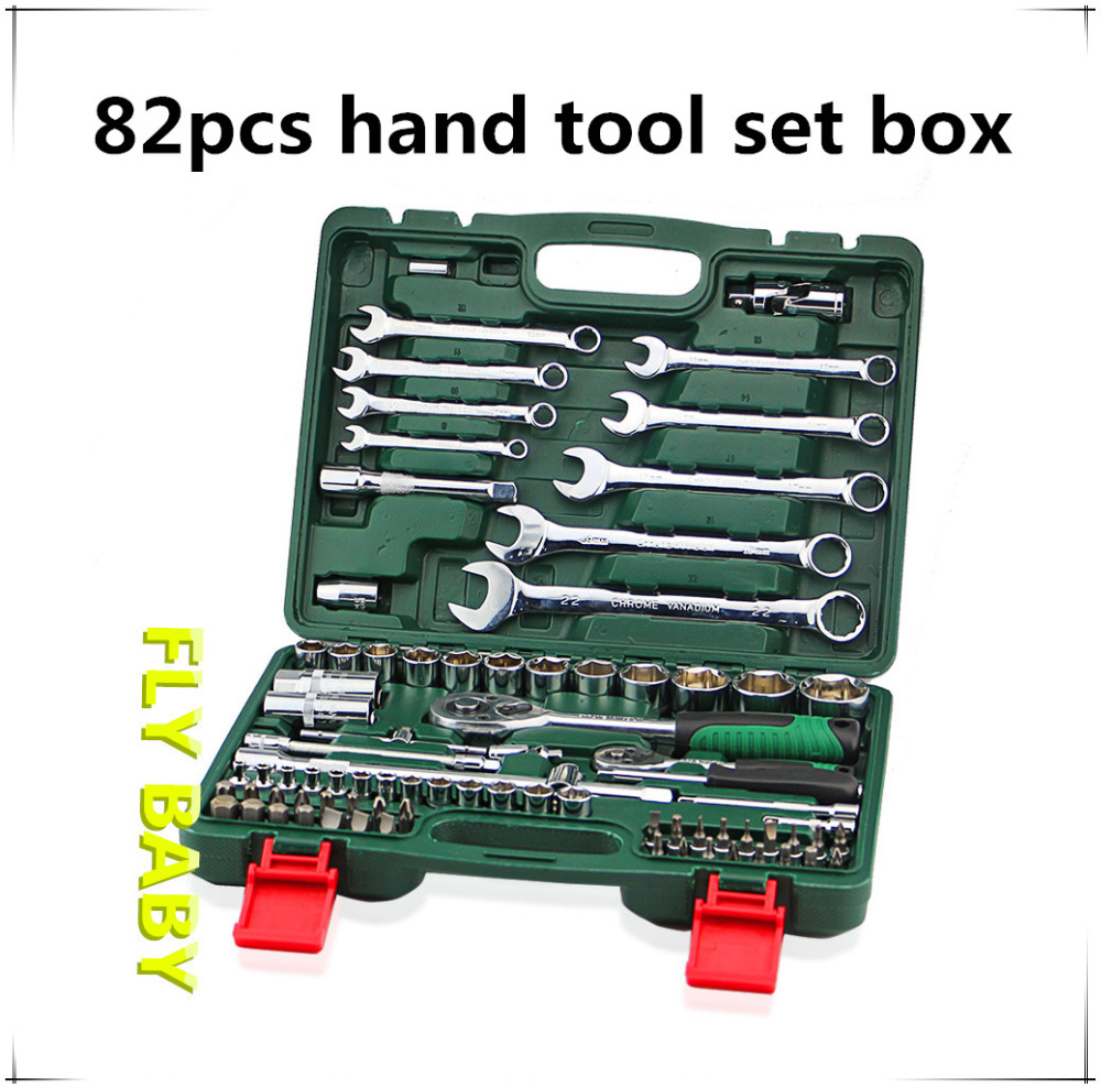 82pcs Key tool Ratchet Combination Wrench 1/2 ratchet spanner for car Repair Tool kits Torque wrench Conjuntos de ferramentas chrome vanadium steel ratchet combination spanner wrench 9mm