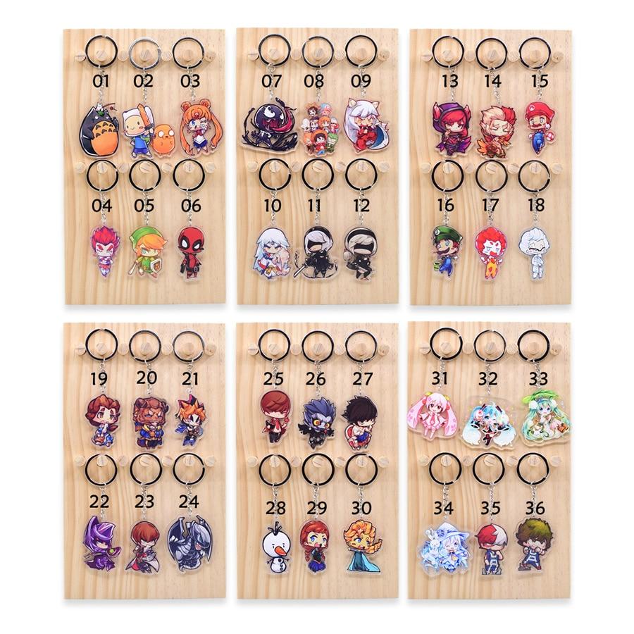 100 unids/lote cientos de estilos clave cadena llavero de acrílico de alta calidad de Chibi Anime clave colgante Accesorios - 2
