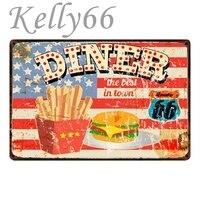 [Kelly66] Diner route 66 металлическая вывеска Оловянная табличка для домашнего декора настенная художественная живопись 20*30 см Размер y-1708