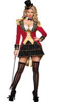 Halloween Women Deluxe Sexy Ringmaster Lion Tamer Costume Circus Trainer Female Magician Cosplay Party Fantasia Fancy Dress