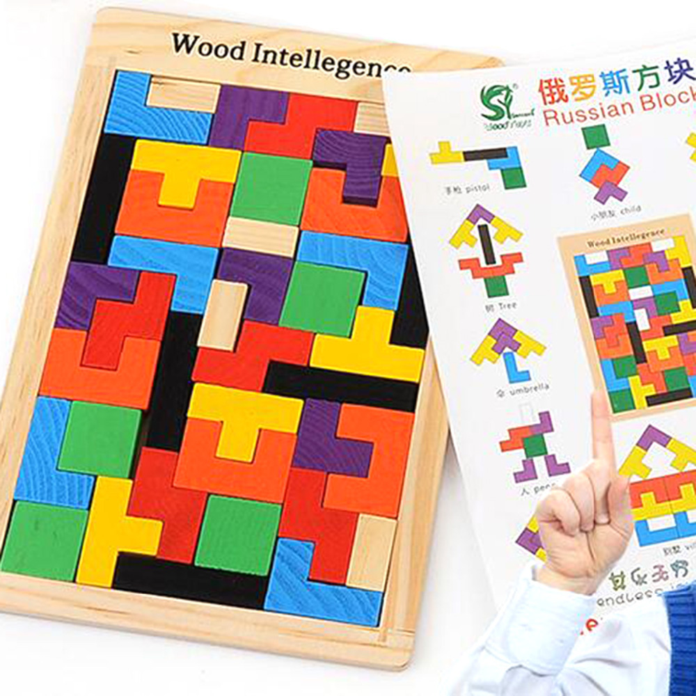 цена на Wholesale Kids Toys Wooden Tangram/Jigsaw Board Puzzle Brain Teaser Puzzle Tetris Game Baby Educational Toy For Children