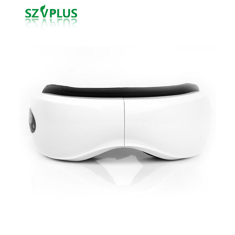 rechargable Wireless Air Pressure Heating Eye Massager Music Eye Care Stress Relief goggles massage eyes 500 music and 1300mA free shipping new air pressure eye massager with mp3 6 functions dispel eye bags eye magnetic far infrared heating eye care