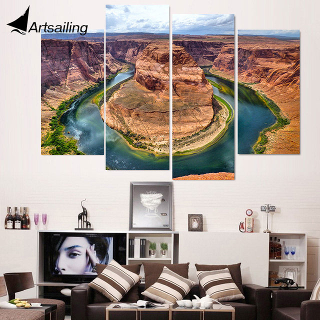 4 Piece Canvas Painting Horseshoe Canyon HD Printed Canvas Art Prints Wall  Art Home Decor Poster