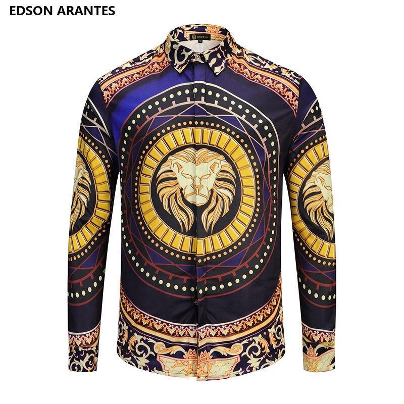 Edson Arantes Phantasie Shirts Herren Langarm Luxus Tier Druck Kleid Hemd Vintage Palace Barock Camisa Slim Fit Masculina
