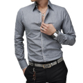 Men Shirt Luxury Brand 2017 Male Long Sleeve Shirts Casual Mens Simple Solid Single Breasted Slim Fit Dress Shirts Mens XXL