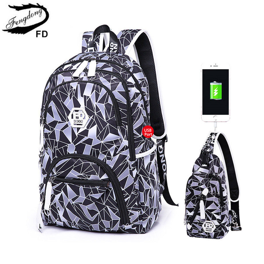 FengDong 2pcs travel backpack for men laptop bag 15.6 male waterproof usb backpack for school boy chest bag school bags for boys new gravity falls backpack casual backpacks teenagers school bag men women s student school bags travel shoulder bag laptop bags