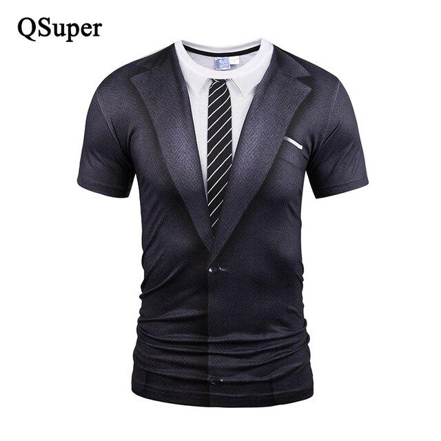 QSuper Anzug Uniform Lustige 3D Print T-shirt Männer Krawatte Kurzarm  Elastische Compression T- c5169a089f