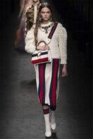 2017 Fashion Brand Retro Style High Quality Women S Skirt Red White Black Trichromatic Mosaic Stripe