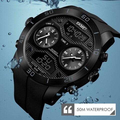 SKMEI Sports Outdoor Watch Men 50m Waterproof LED Electronic Watch Vibrating Stainles Steel Dual Display Watch relogio masculino Pakistan