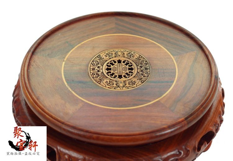 Annatto red wingceltis woodcarving handicraft circular base of real wood of Buddha stone vases, furnishing articles special rosewood carving annatto handicraft circular base of real wood of buddha flowerpot stone vases furnishing articles