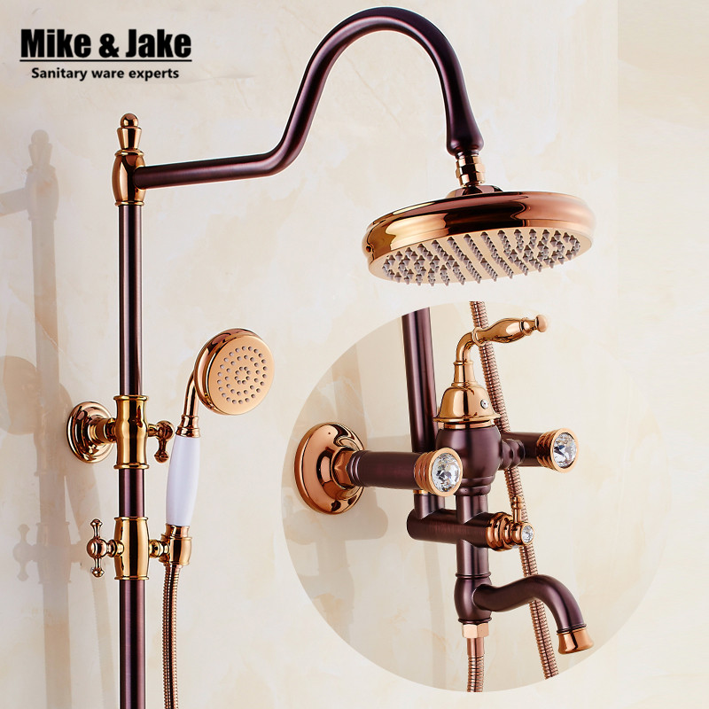 Euro Style Oil Rubbed Black Bronze Finish Dual Handle Brass Bath & Shower Faucet With Slide Bar With Hand Shower luxury shower new modern accessories luxury european style oil rubbed bronze metal toothbrush dual tumbler