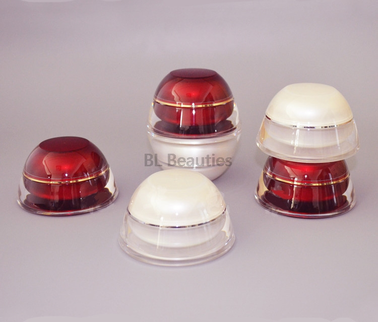 Empty Acrylic Jar Cream Container 15g 30g 50g Pagoda Cosmetic Plastic Red Pear White Bottles Cosmetic
