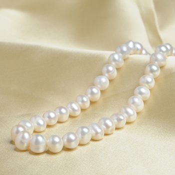New Arrival Natural White colour Oval Beads 11mm Pearl Necklace Chain MOM GIFT