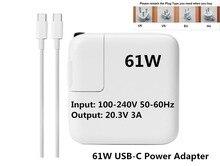 Nueva Llegada! alta calidad 61 w usb ac cargador adaptador de corriente (1718) para el último macbook pro 13 pulgadas a1706 a1707 a1708a (hecho en 2016).