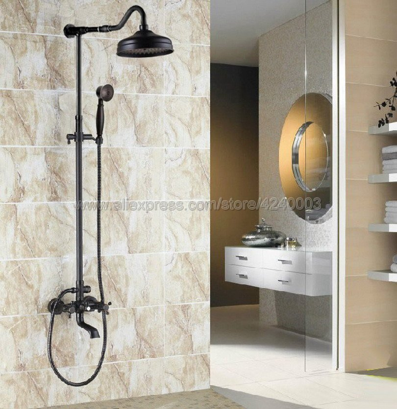 Wall Mounted Oil Rubbed Bronze 8 Inch Round Rainfall Shower Head + Tub Spout + Brass Hand Sprayer Mixer Tap Krs665