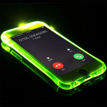 LED Flash TPU Case For iPhone 5 5S 5SE 6 6S 7 8 Plus Cases Transparent Luminous Back Cover For iPhone X Up Remind incoming(China)