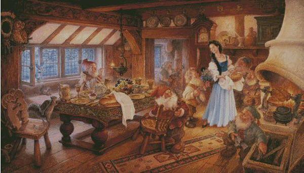 Needlework,Cartoon Snow White And The Dwarfs 14CT Counted Embroidery,DIY DMC Cross Stitch Kits,Art Pattern Cross-Stitching Decor
