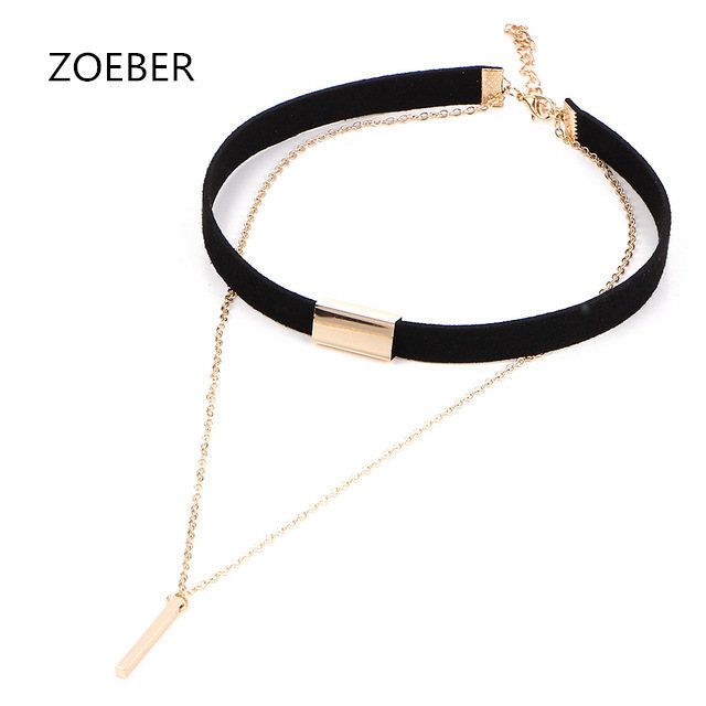 ZOEBER New Black Velvet Choker Necklace Gold-color Chain Chokers Chocker Necklace For Women Collares Mujer Collier Female