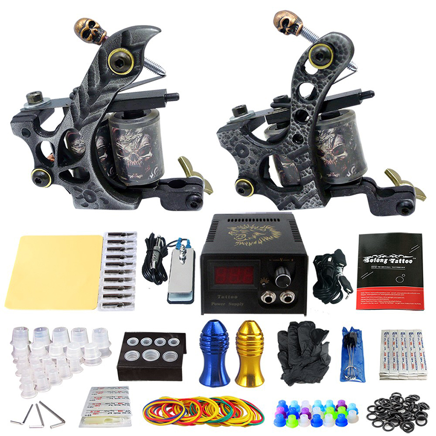 Practice Skin New Tattoo Kits Tattoo Power Supply Footswitch 2Pcs Coil Tattoo Machine Grip Needles Cleaning Tools Kit Tatto