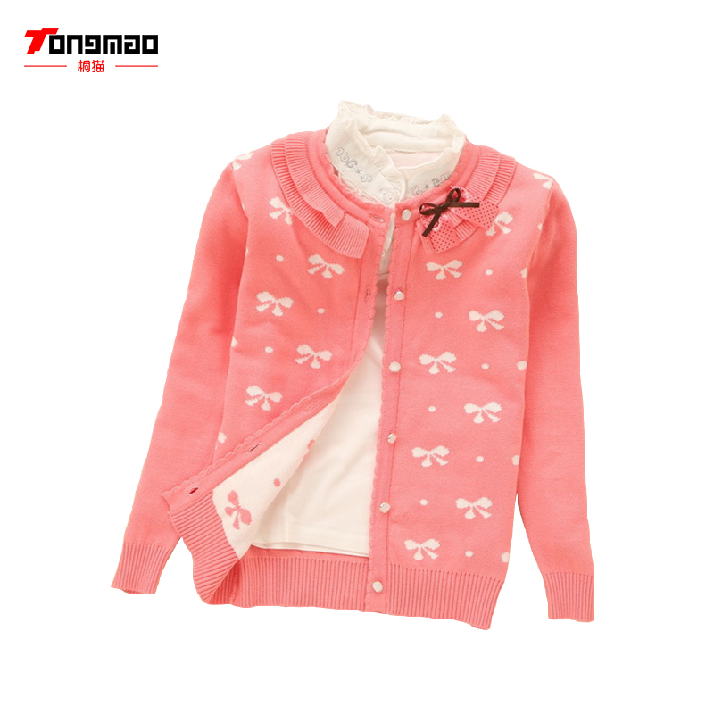 2018 New Autumn/Winter Baby Girl Sweater Casual Style Girl Cotton Cardigan Long Sleeve O-neck Solid Bow Pattern Children Sweater