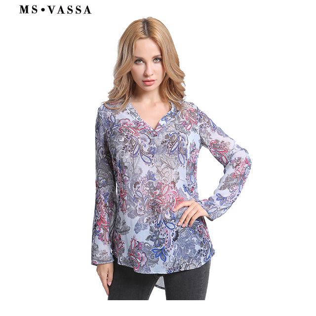 Casual shirts print long sleeve V-neck ladies loose Blouses