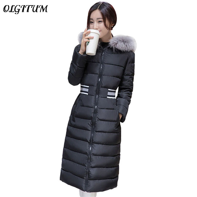 2017 winter new women cotton jacket long section down cotton coats thick warm cotton jacket hooded fur collar Parka Plus Size 2017 new winter women winter women in the long section of thick cotton coat fur collar jacket cold winter jacket size m xxl