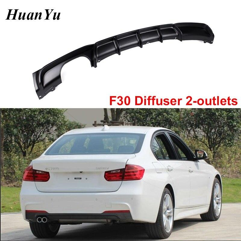 Difusor de 2 tomadas para bmw f30 m sport edition 4-door sedan pára-choques traseiro lábios abs material 3 séries 318i 320i 328i 2012-2018