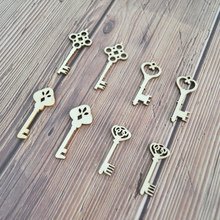 Happymems Wholesale Wood Keys 120pcs/lot Natural DIY Crafts Wooden Shape Home Decorations Vintage Veneer Gifts