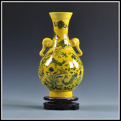 Exquisite Yellow Antique Porcelain Vase Of Fish And Lotus Made By