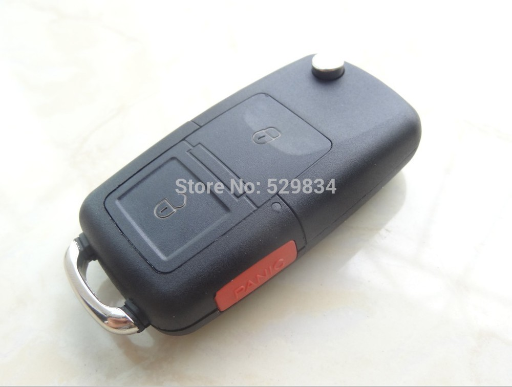AUTEWODE New Remote key shell for VW 3 BUTTONS with panic pad Car Flip Key Case