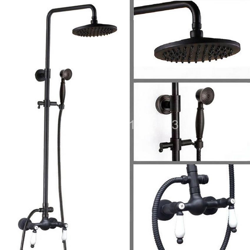 Black Oil Rubbed Bronze Bathroom Rainfall Shower Faucet 8 Round Shower Head Set Mixer Tap Two ceramic Handle ars473