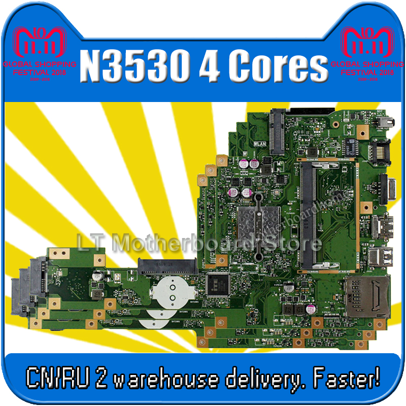 X553MA Motherboard REV 2.0 N3530 4 Cores For ASUS A553M D553M F553M K553M Laptop motherboard X553MA Mainboard X553MA Motherboard sheli asus for x553ma motherboard with n3530 cpu