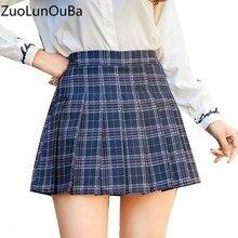 fcf9add228 Fashion A Word Skirts Womens Summer High Waist Pleated Skirt College Style  Kawaii Girl Harajuku Navy