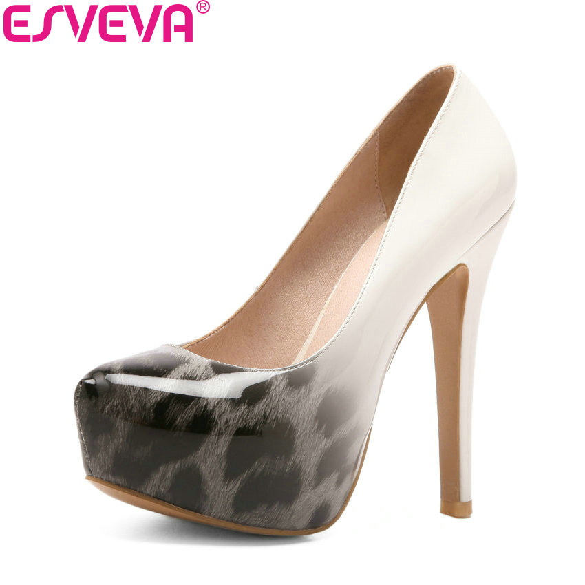 ESVEVA 2018 Women Pumps Mixed Color Slip on Super Thin High Heels Round Toe Platform 3cm Printed Leather Women Shoes Size 34-43 цена