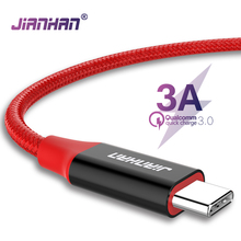 JIANHAN 3A Usb 3.0 Type C Cable Usb C Fast Charging Quick Data cables Braided for Samsung