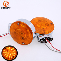 Motocicleta Chrome LED Waterproof Amber Light Motorcycle Turn Signal Indicators Light Lamp Aluminum For Harley Glide