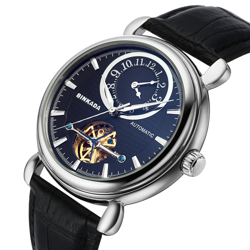 ФОТО BINKADA Mechanical Watch Men Sapphire Glass Chronograph Watch for Men Waterproof Wristwatch Double Timezone Relogios Masculino