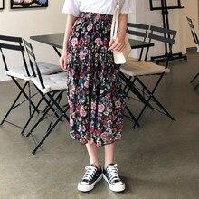YICIYA Women Clothes 2019 Ulzzang Vintage Style Chiffon Elastic Waist High Black Floral Skirt Midi Skirts