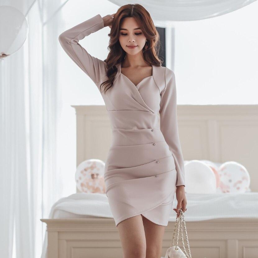 As Coréenne Robe Sexy Slim À Moulante Plongeant 2018 Verano Col Bureau Femmes Manches Pic Robes Style Travail Hiver V Longues qfqzwgU