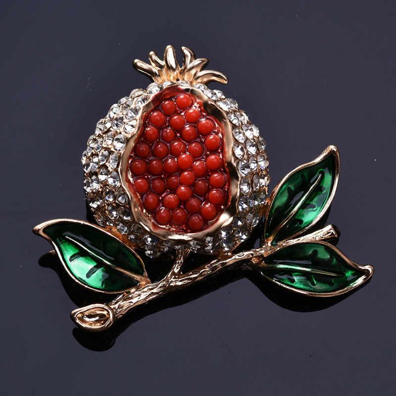 1 Buah Lucu Romantis Wanita Pria Buah Delima Bros Enamel Paduan Berlian Imitasi Pakaian Topi Dekorasi Kerajinan Perhiasan 2018 Baru