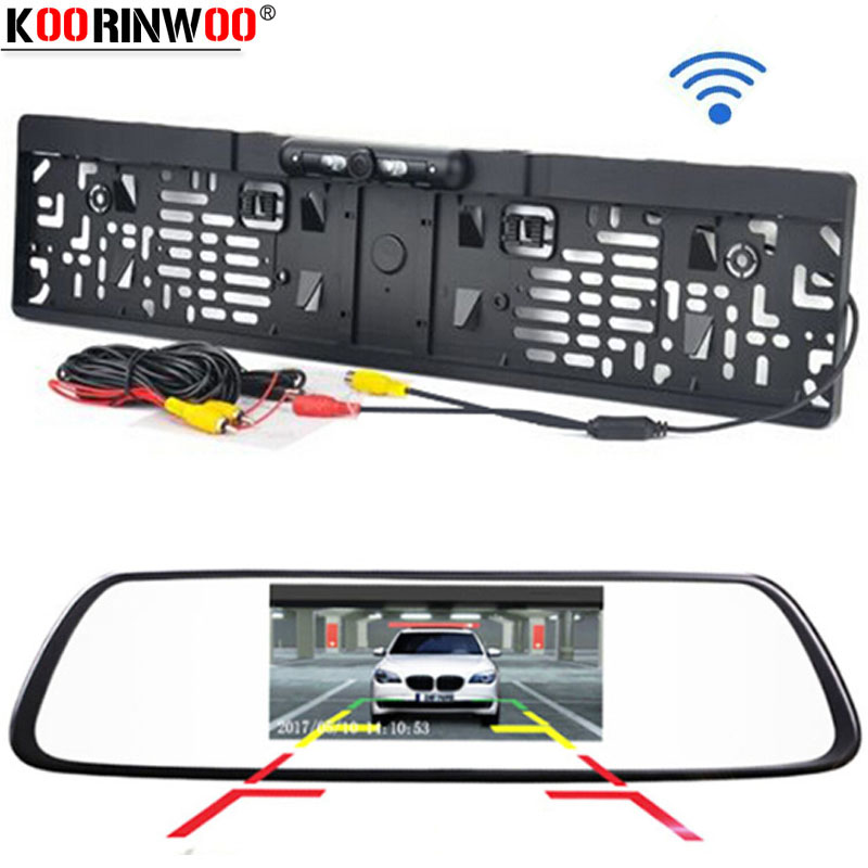 Koorinwoo EU License 4.3 inch Car HD Rearview Mirror Monitor CCD Video Auto Parking Assistance LED Lights Car Rear View Camera|Vehicle Camera| |  - title=