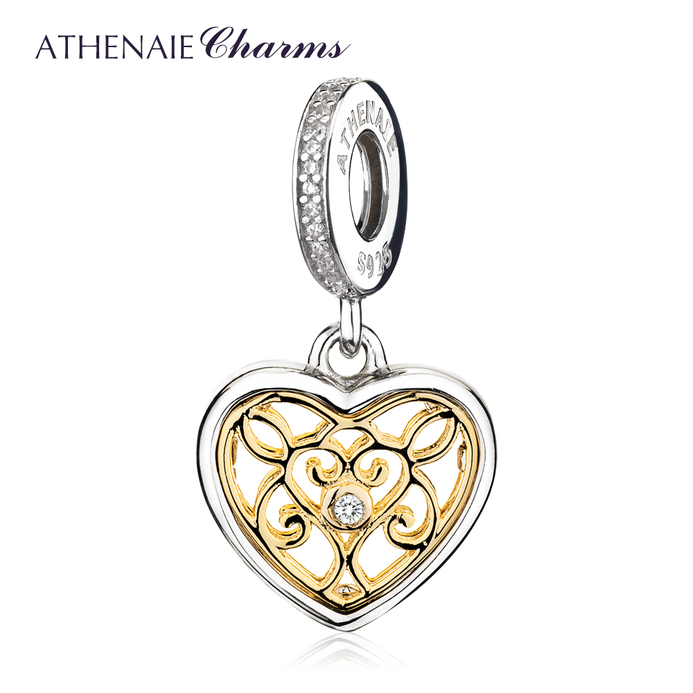 ATHENAIE 925 Sterling Silver Pave 14Kt Gold Pendant and Clear CZ Romantic Heart Charms Beads Fit